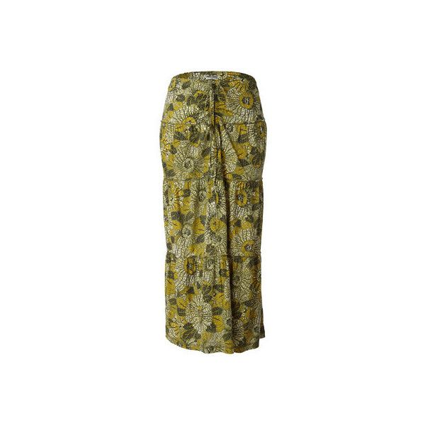 Women's Royal Robbins Sookie Sunflower Convertible Skirt ($70) ❤ liked on Polyvore featuring skirts, green, tie-dye maxi skirts, floral maxi skirt, long skirts, floral print long skirt and brown maxi skirt