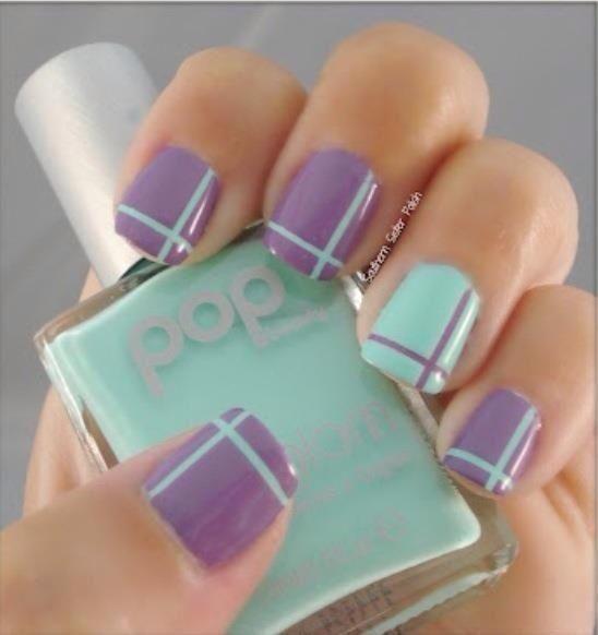 Nailart Nägel Nagel Design in Mint Lavendel flieder lila Pastellfarben