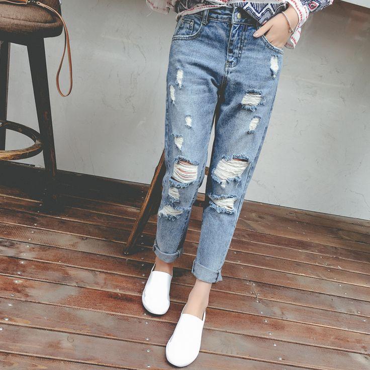 Księżniczka lato 2017 w stylu preppy wysokiej talii kobiece luźne spodnie skinny jeans dziura żebrak spodnie harem pants