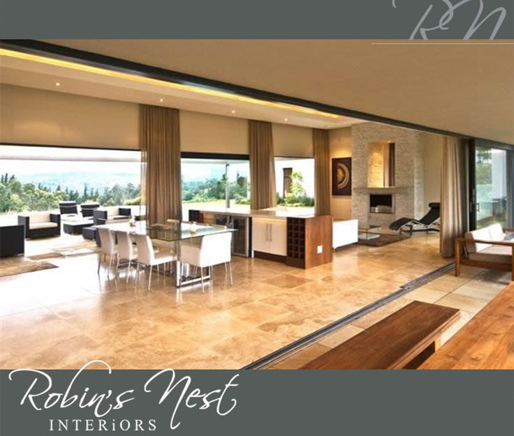 At #RobinsNestInteriors we are passionate at what we do. Such as this lovely house on a golf estate with an open-plan lounge, kitchen, dining and tv room, where the outdoors meet the indoors #Interior #Design #interior