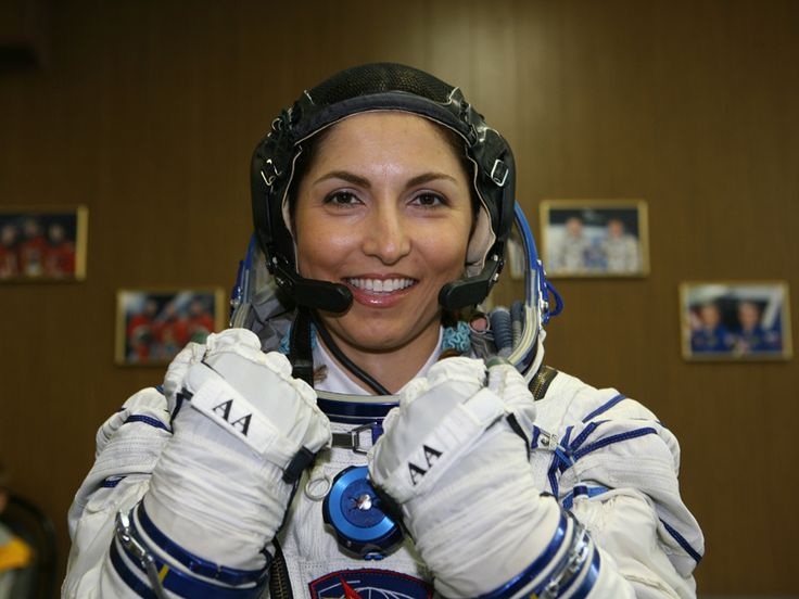 © Anousheh Ansari,  Anousheh Ansari suited up. First woman to pay her way to space