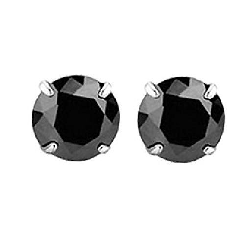 White Birch 925 Silver Stud Earrings for Womens and Mens with Sparkling Black…
