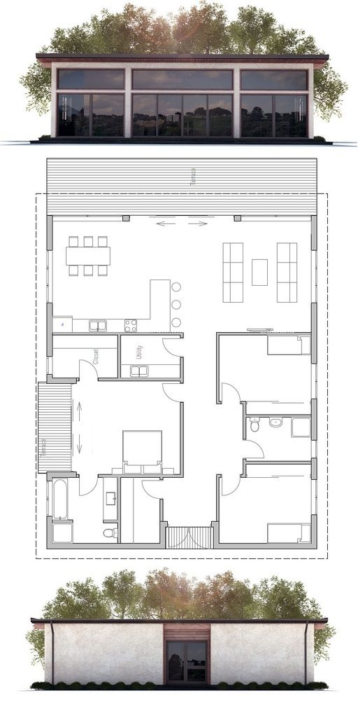 House Plan with simple lines.