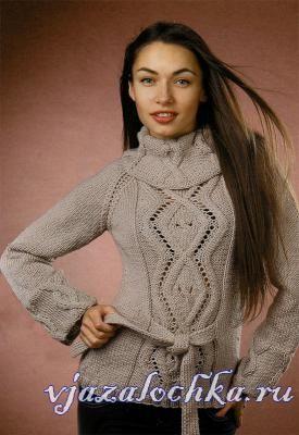 Теплый свитер спицами