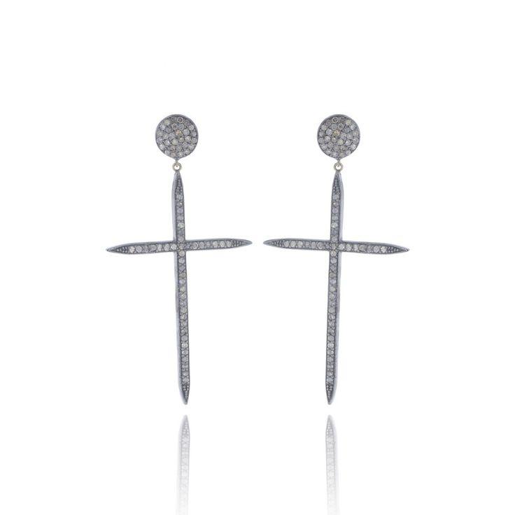 Pave Diamond Cross Earrings Silver Latin Cross Earrings 14k Gold Round Disc…
