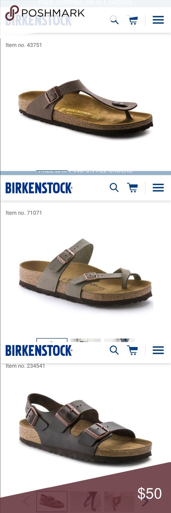 WANTING TO BUY Birkenstocks size 37 Hi! I am looking to purchase these styles of Birkenstocks, new or lightly worn, size 37! If you have any of these let me know and I'd love to buy, preferably the color mocha or stone but I'm open to look at all! Birkenstock Shoes Sandals