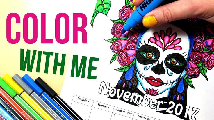 La Calavera Catrina - Sugar Skull Girl || Coloring with Highlighters and Markers. Coloring a sugar skull girl calendar page for November 2017 using highlighters and markers. I'm highlighter markers, and Stabilo and United Office markers and fineliners and the coloring page is printed on normal copy paper.