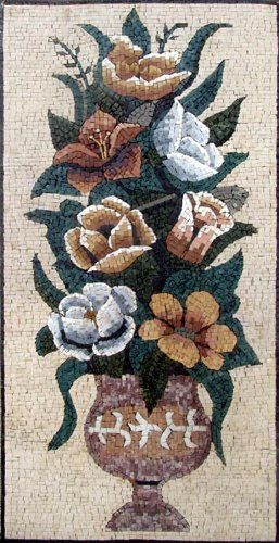 """46x20"""" Flower Mosaic Art Tile Mural Wall Decor by mozaico. $344.00. Mosaics have endless uses and infinite possibilities! They can be used indoors or outdoors, be part of your kitchen, decorate your bathroom and the bottom of your pools, cover walls and ceilings, or serve as frames for mirrors and paintings."""