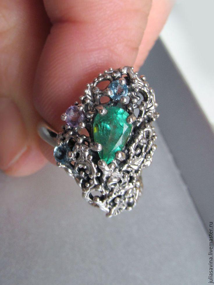 Купить Кольцо с крупным изумрудом Перо павлина - морская волна, изумруд, изумрудный, кольцо изумруд
