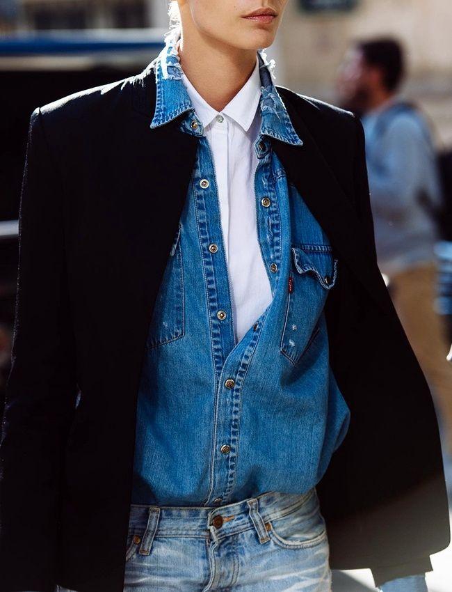 Et si l'on superposait chemise blanche et chemise en jean ? (photo Citizen Couture)