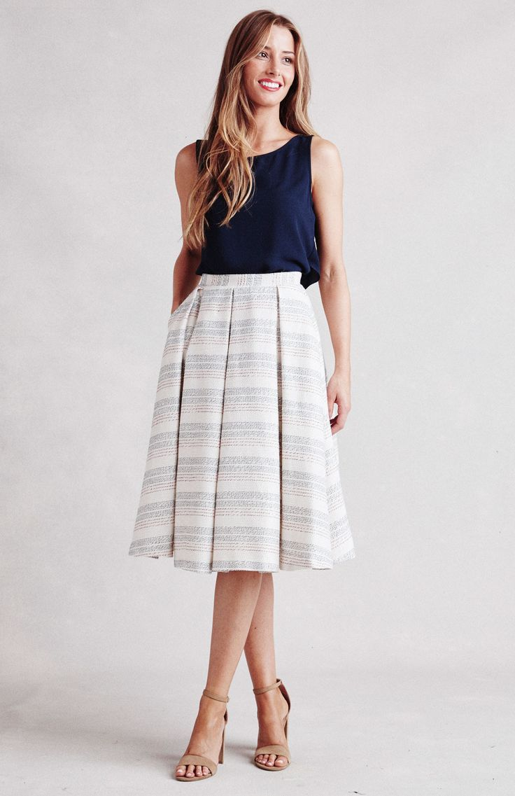 - Details - Size - Returns & Exchanges - Feel playful and feminine in the Marietta full striped skirt. Box pleats and a fitted waistband give this skirt sophisticated structure, while pockets and a ba