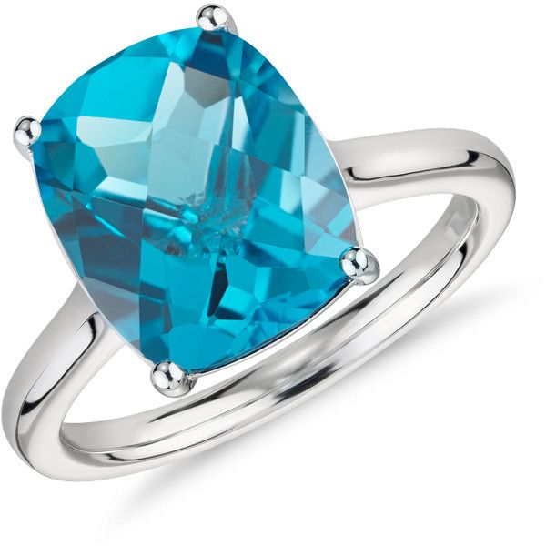 Blue Nile Blue Topaz Cushion Cocktail Ring ($395) ❤ liked on Polyvore featuring jewelry, rings, blue topaz rings, cocktail rings, blue topaz cocktail ring, blue nile rings and 14k jewelry