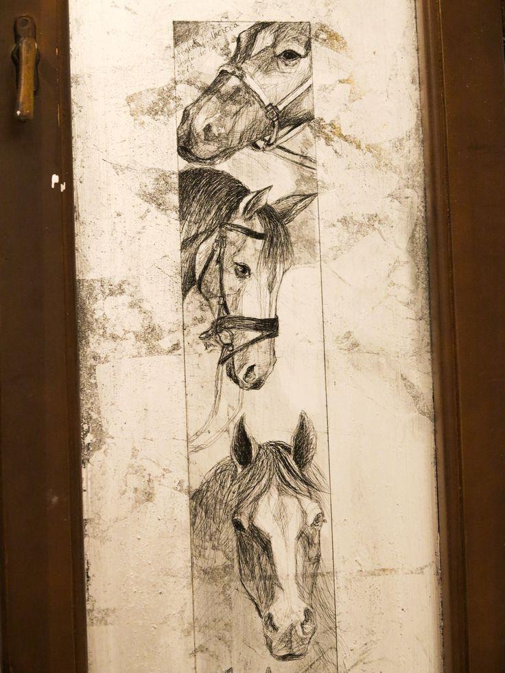 Cai, studiu.foita metalica argintie, gravata, pe sticla geamului