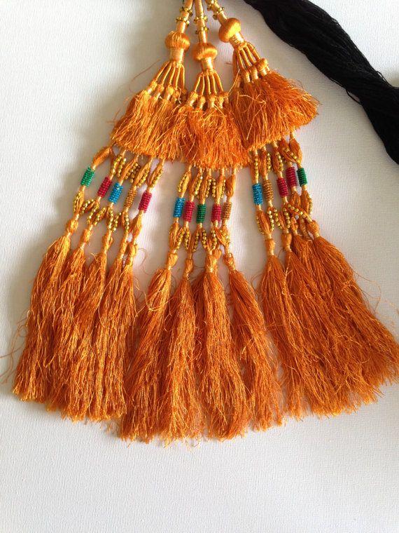 Hair Tassels, Gold,Tribal  Belly Dance, Hair Ornaments, Tribal Hair, Bellydance Costume, Bohemian Hair Extension, Hair Jewellery