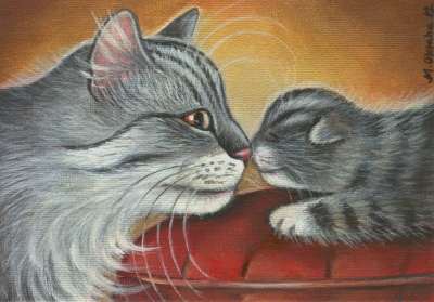 Happy Mother's Day!Cat Art, Mothers Day, Cat Painting, Painting Art, Happy Mothers, Kot Art, Pets Painting, Pussy Cat