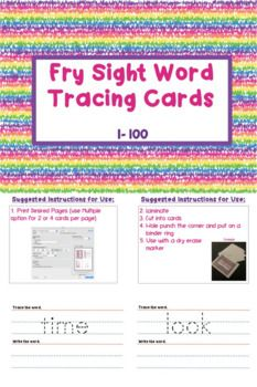 These Fry sight word tracing cards were designed to help students master sight words as they learn to read. Print, laminate and cut these cards to use with dry or wet erase markers. This bundle includes the following products: Fry Sight Word Tracing Cards for