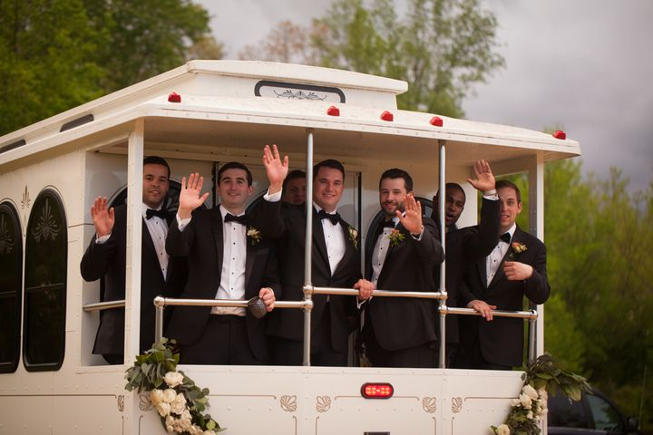 Rob and his men looking dapper as they make their way to the wedding on the trolley! Catherine and Rob's wedding held at his family estate in Harwood, Maryland.