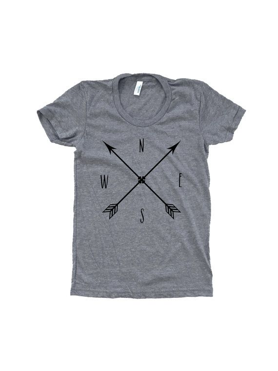 Our arrow compass design is printed in black ink onto an incredibly soft, heathered grey American Apparel t-shirt - custom fit just for women.  The