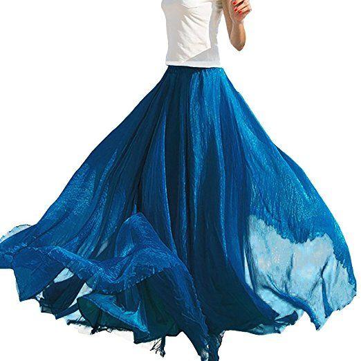 Eleery Jupe Femmes Longue Maxi Uni Simple Mousseline de Soie Bohème Vintage Élégante Classique Rétro Plissé Casual Cocktail Party Plage (Bleu)