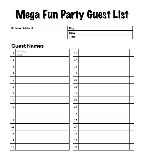 10 guest list templates word excel pdf templates www