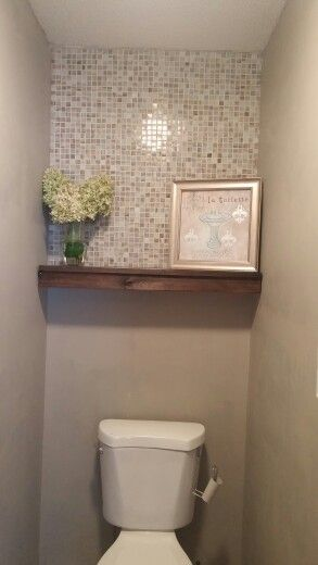 Rustic Kitchen Decorating Ideas Islands Home Depot Half Bath Redo. Mosaic Tile, Floating Shelf, Behr Perfect ...