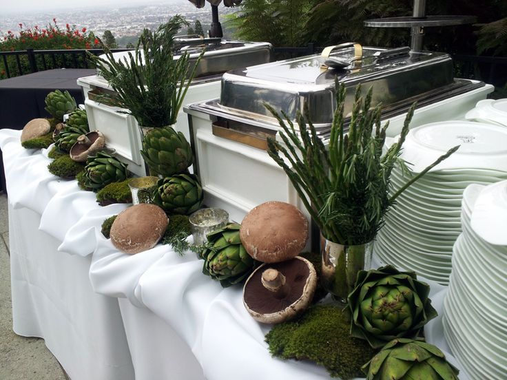 29 best images about catering decor on pinterest for Decorating ideas for buffet tables
