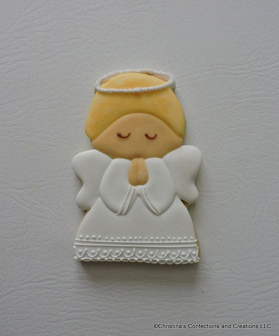 Large Praying Angel Decorated Sugar Cookie for Christmas by 3CSC