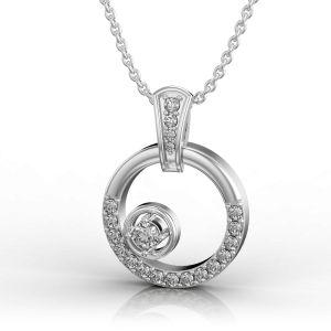 Dancing Diamond in White Gold Pendant