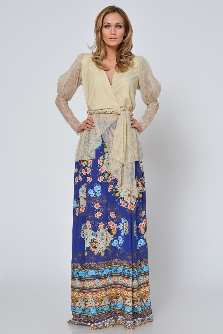 Jamila dress is made of fine floral fabric and fine lace, handmade embroidered with beads and crystals.