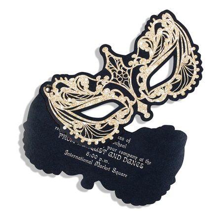 Golden Masquerade Flip-Open Invitation