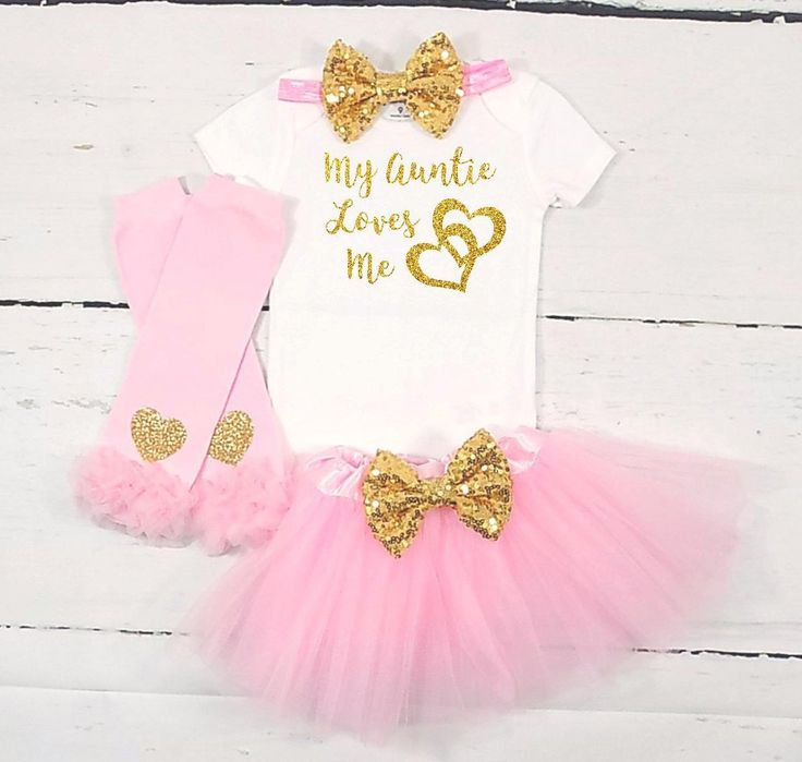 baby girl clothes baby girl outfit niece outfit my aunt loves me my auntie loves me pink gold baby girl outfit auntie outfit auntie shirt by TheLittleQueenBee on Etsy