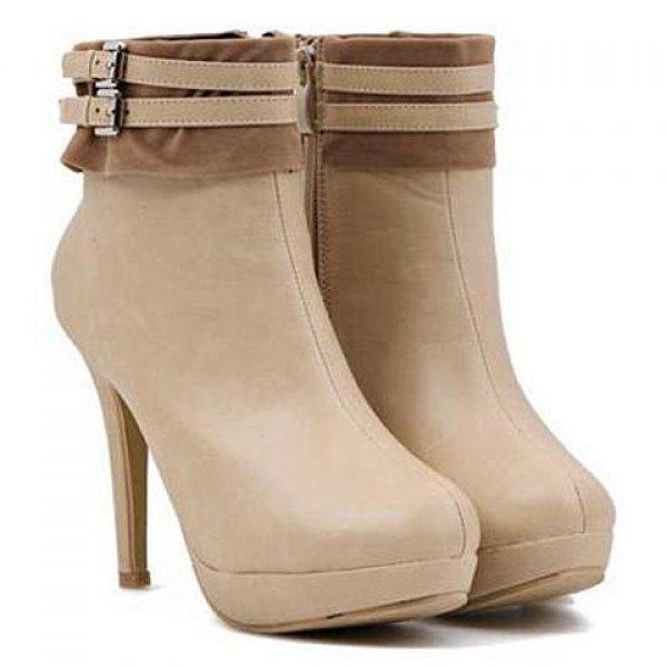 Trendy Buckles and Splice Design Women's Stiletto Short Boots