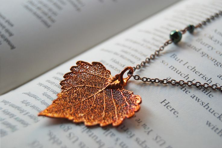 Small Fallen Copper Cottonwood Leaf Necklace by EnchantedLeaves.com
