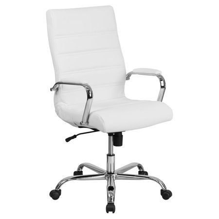 Leathersoft Office Chair With Wheels And Arms White Walmart Com White Leather Chair Swivel Office Chair Leather Office Chair