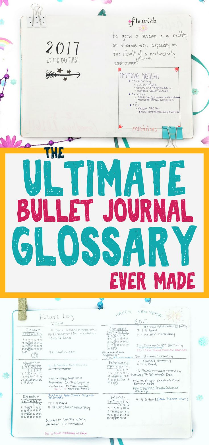 Are you ready for the most ultimate, comprehensive bullet journal glossary ever?!?! Here it is! Learn about bullet journals, weekly layouts, monthly spreads, trackers, collections, hacks, set ups, and more! Never feel clueless about your bujo again! #bulletjournal #bujo #planner #diy #bulletjournaling