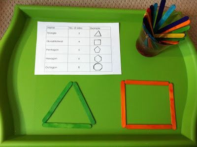 Shape Theme Student recreates a shape using sticks Creative Curriculum GOLD objective 21b (understands shapes), Objective 20 (number concepts and operations - counting the sides of the shapes