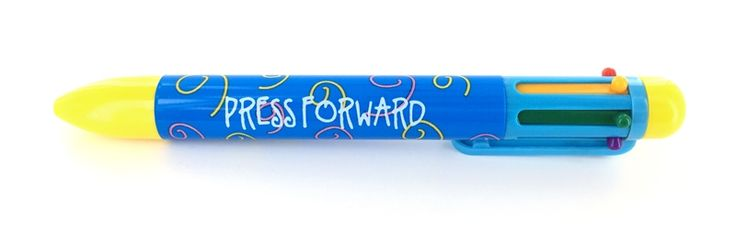 "Buy at Books & Things: https://booksandthings.com/press-forward-/-2-nephi-31-20-multi-color-pen-lds-young-men/young-women-theme.html ""Press Forward / 2 Nephi 31:20"" - Multi-Color Pen - LDS Young Men/Young Women Theme"