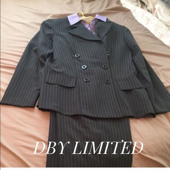 Pinstriped ladies dress suit. Pin striped ladies dress suit, size 9/10. Worn only once. It's grayish black,  faux purple shirt. DBY Limited Pants Trousers