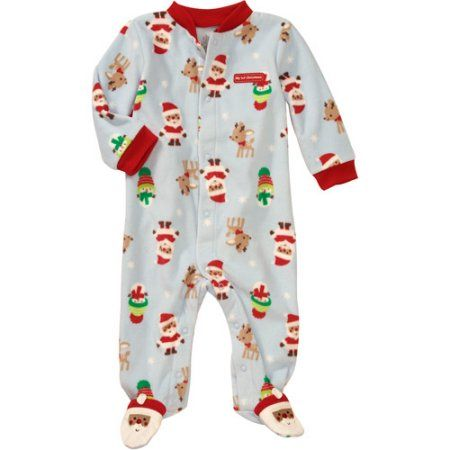Child of Mine Carters Newborn Boys' Santa Fleece Sleep n Play Jumpsuit, Blue