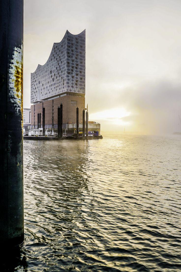 Hamburg Foto von der Elbphilharmonie im Nebel am frühen morgen    Bildschönes Hamburg