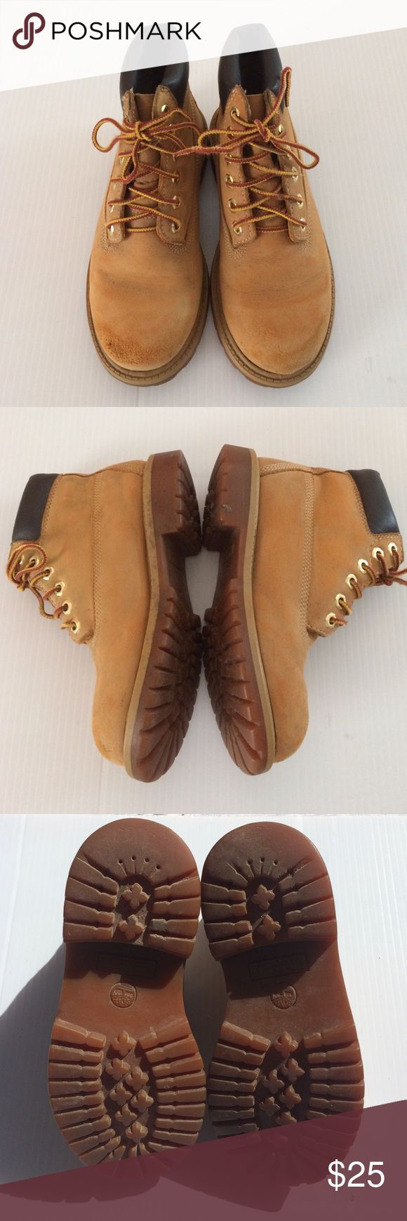 Timberlands Boys Size 13.5 US Preowned Boys Timberlands boots size 13.5 they have wear but still plenty of life on them. On front of the shoes have wear Be free to make me an offer thanks Timberland Shoes Boots