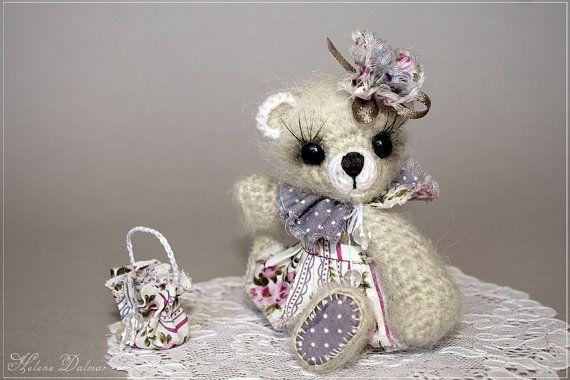 Artist Bear  Crochet Toy  Gray Bear Amigurumi  OOAK by AldanaBears, $42.90