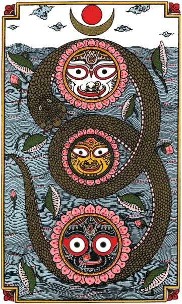 Baladeva, Subhadra & Lord Jagannath (Krishna with his Brother and Sister -- Lord of the Universe+Energy)