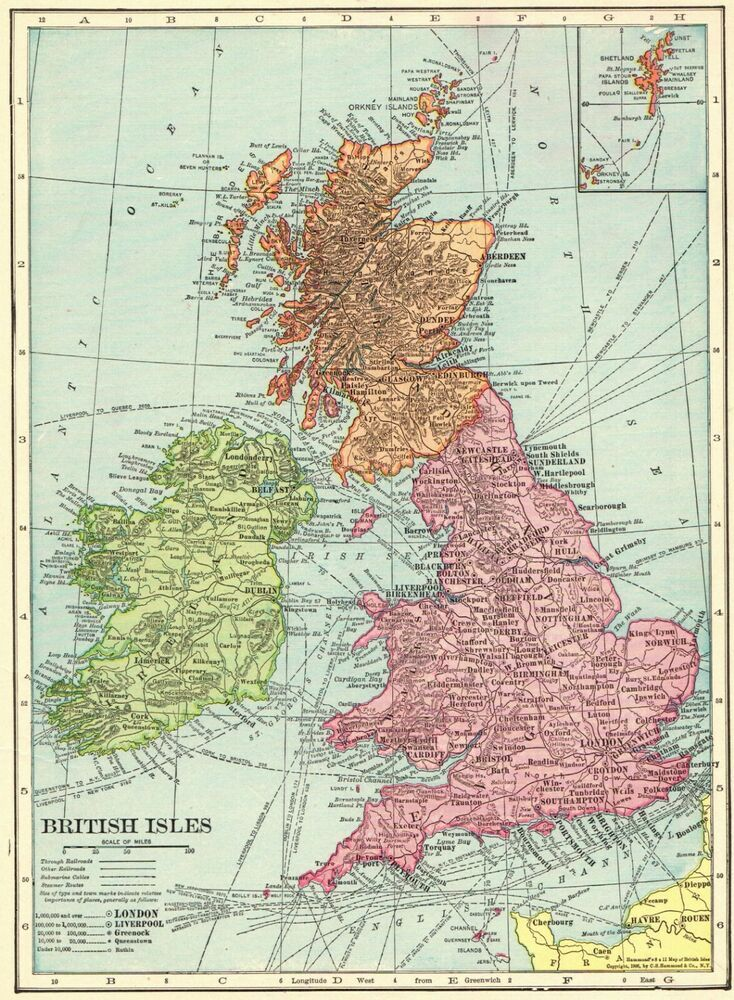 1908 Antique British Isles Map Of The United Kingdom Map England Scotland 6619 British Isles Map United Kingdom Map Map