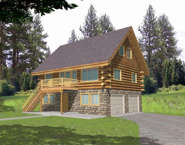 others attractive loft log cabin plans with wooden exterior stair railings and natural stone cladding for wall panel systems also double car garage door