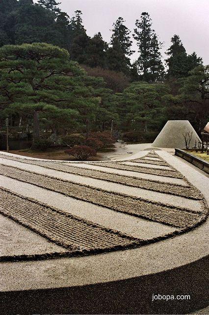 Zen garden in Ginkakuji Temple, kyoto, Japan by Jobopa, via Flickr