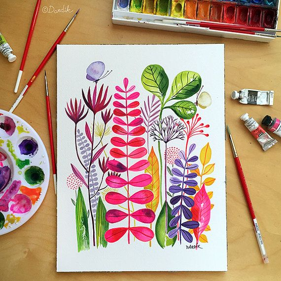 Pink+Garden+...+original+watercolor...+9+in+x+12+by+helendardik