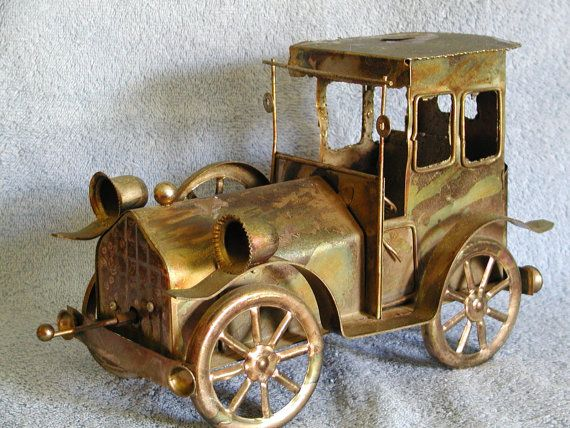 Music Box  Metal Art  Copper Old Car by SashasCollectibles on Etsy
