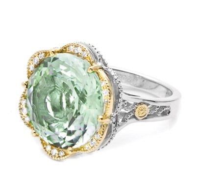 It's easy going green with style if you're flaunting this pale seafoam-mint Prasiolite. Elegantly glamorous and brightly fashion-forward, 18k golden diamond petals gild the lily on a slim .925 silver sculpted crescent frame.
