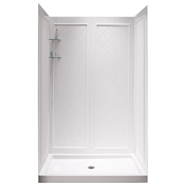 dreamline shower base and back walls white acrylic wall acrylic floor 2 piece alcove shower kit common 36in x 48in actual 7675in x pinterest